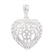 Sterling Silver Filigree heart shaped Pendant